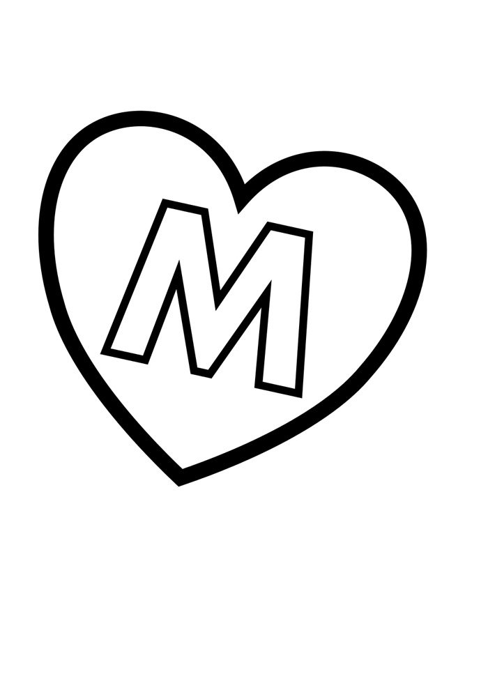 letter m coloring page illustrated