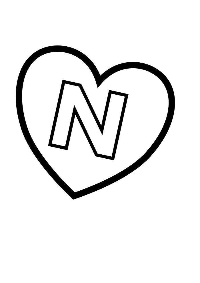 letter n coloring page illustrated