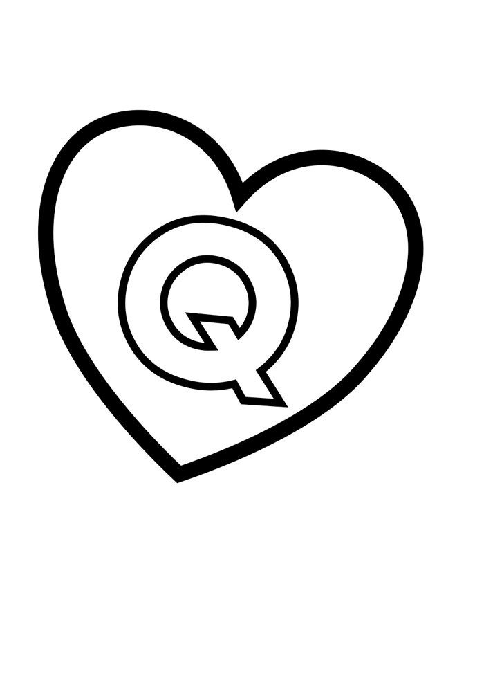 letter q coloring page illustrated