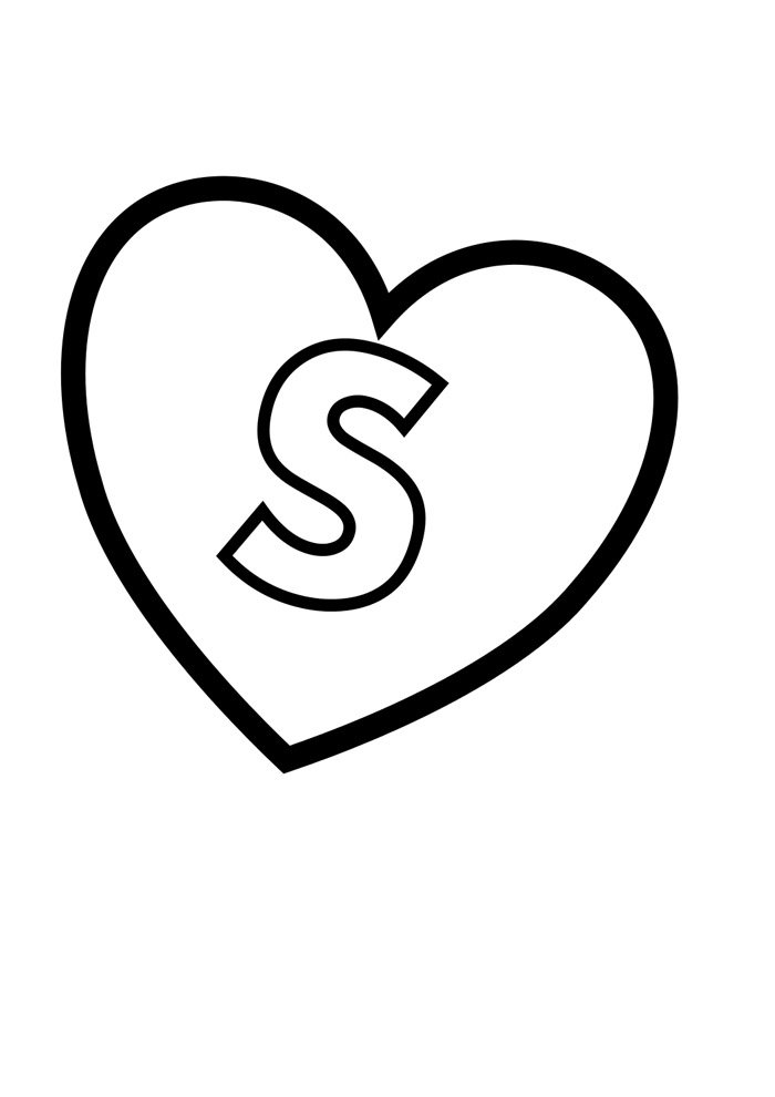 letter s coloring page illustrated