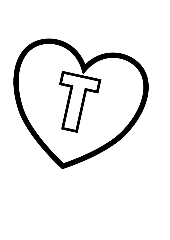 letter t coloring page illustrated