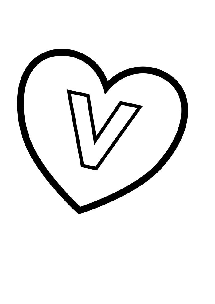 letter v coloring page illustrated
