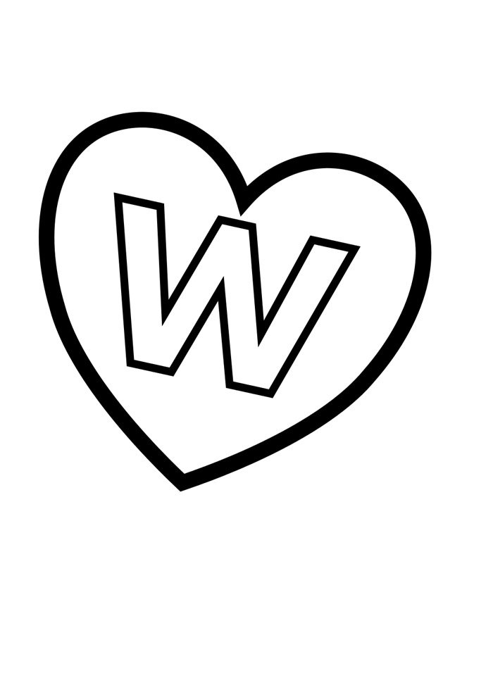 letter w coloring page illustrated