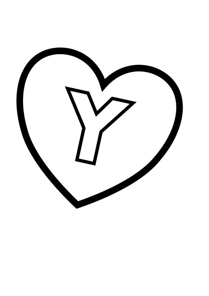 letter y coloring page illustrated