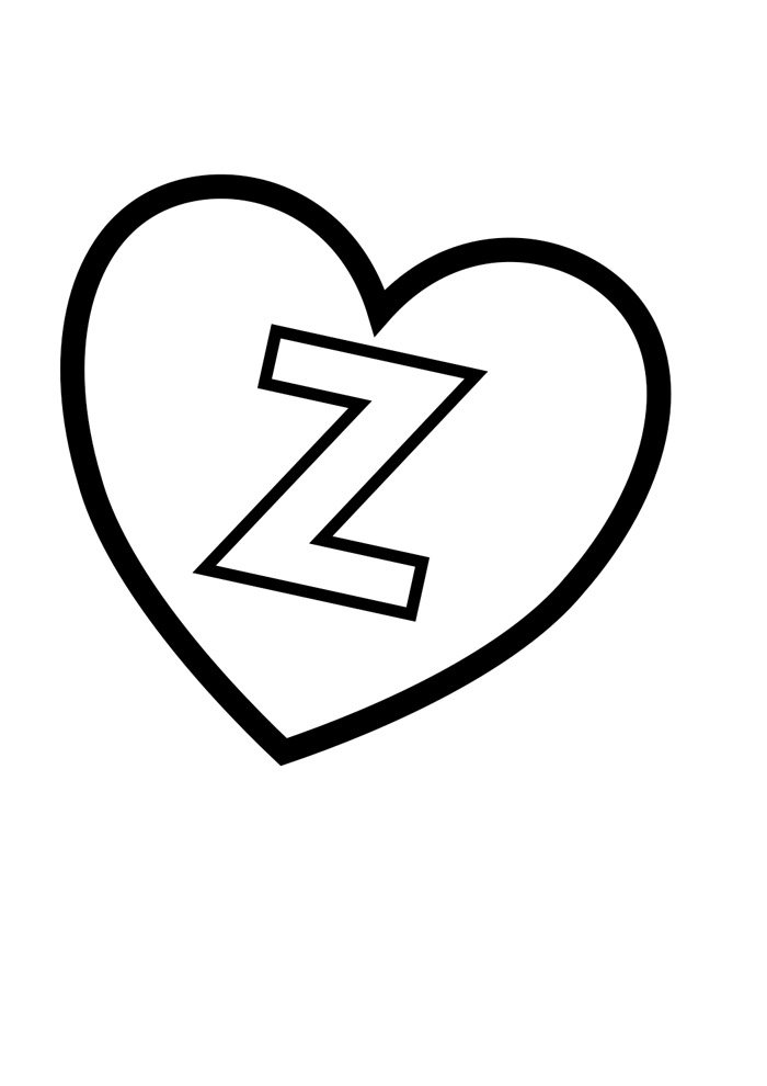 letter z coloring page illustrated