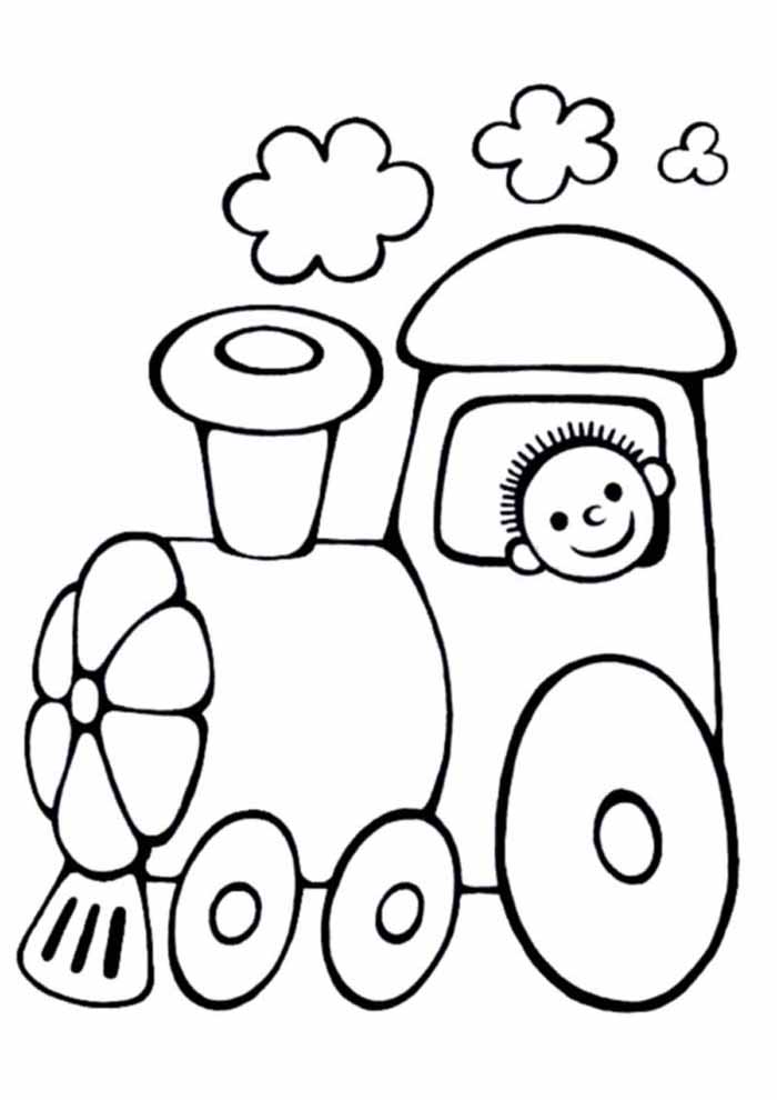 little train coloring page for kids
