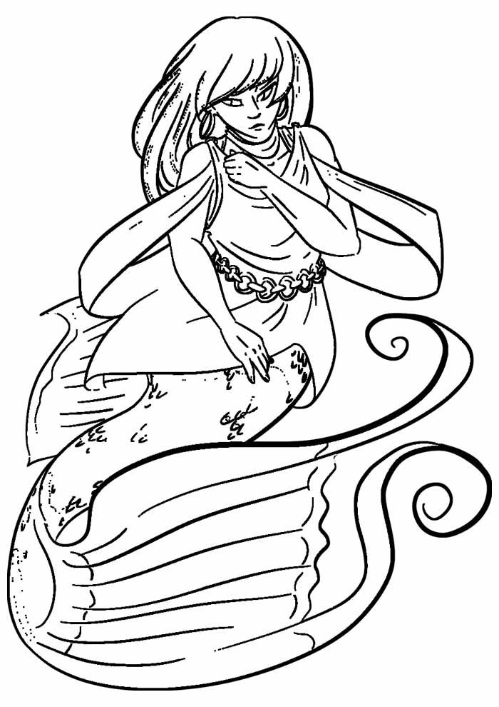 mermaid coloring page 2