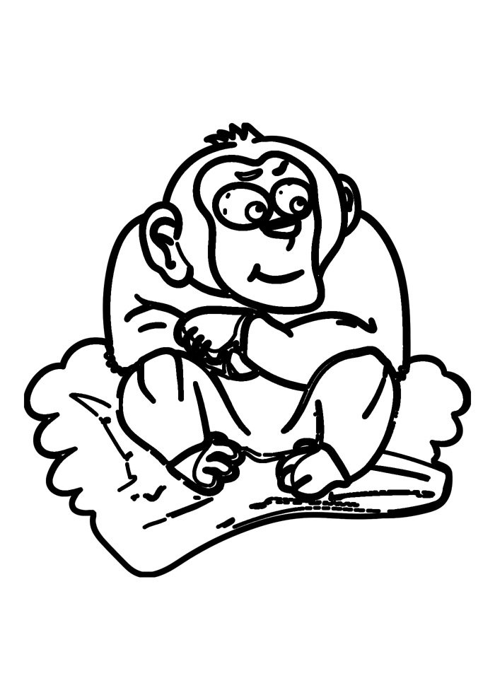 monkey coloring page 12