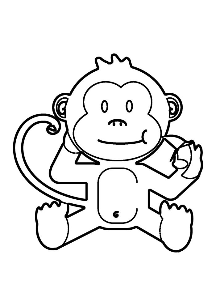 Monkeys - Free printable Coloring pages for kids | 990x700