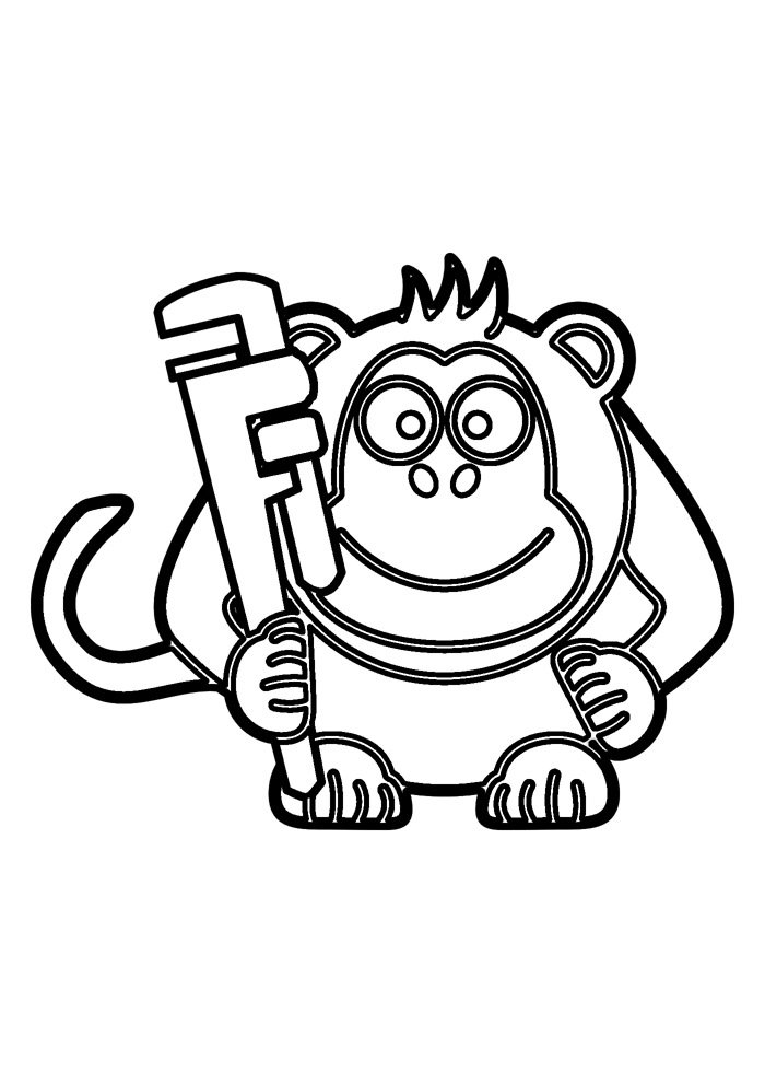 monkey coloring page 24