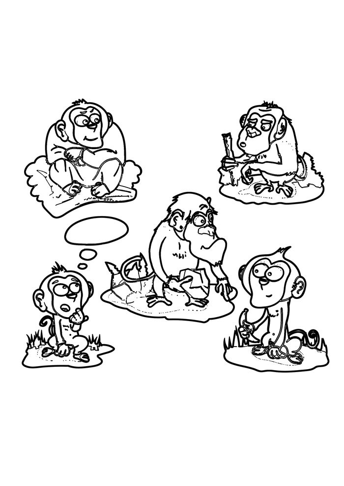 monkey coloring page 46
