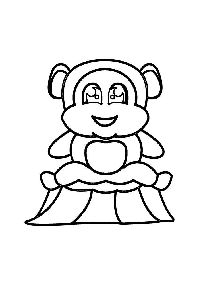 monkey coloring page 8