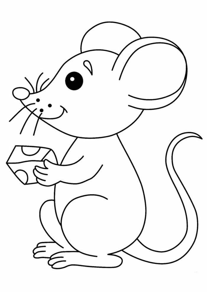 mouse coloring page for kids