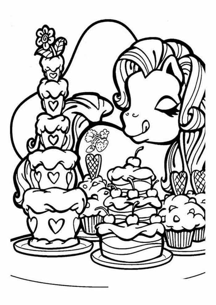my little pony coloring page eating cakes