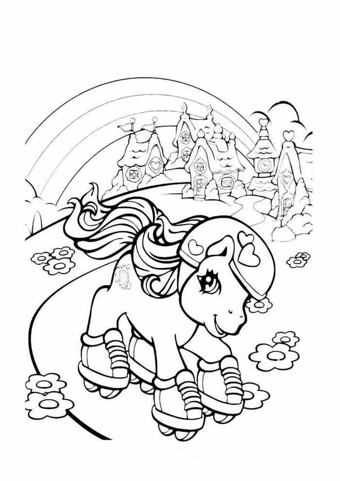 my little pony coloring page skating