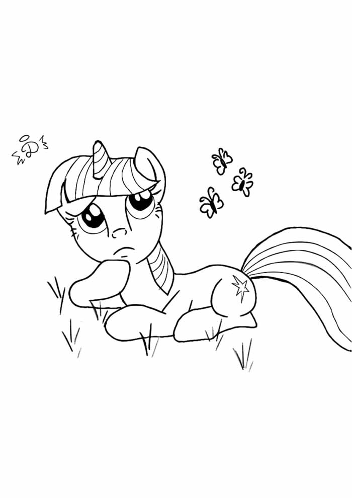 my little pony thoughtful coloring page