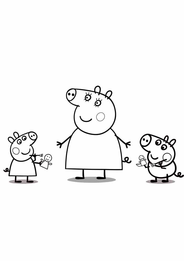 peppa pig coloring page and kids