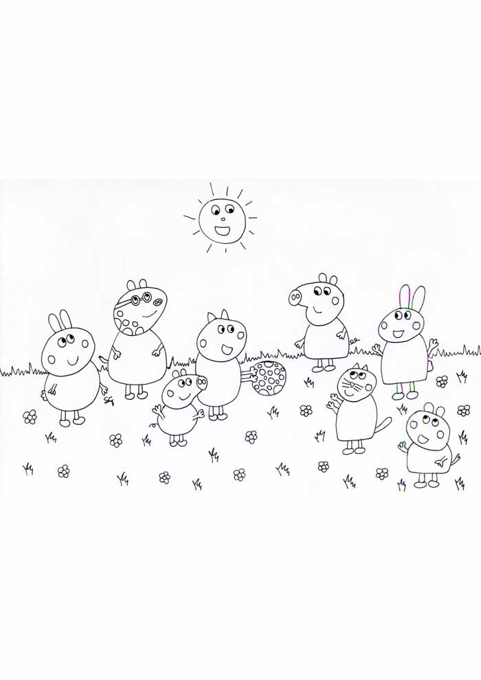peppa pig coloring page at the beach
