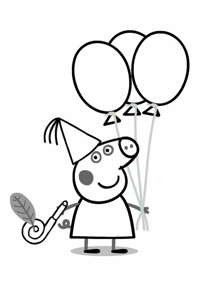 peppa pig coloring page b day party