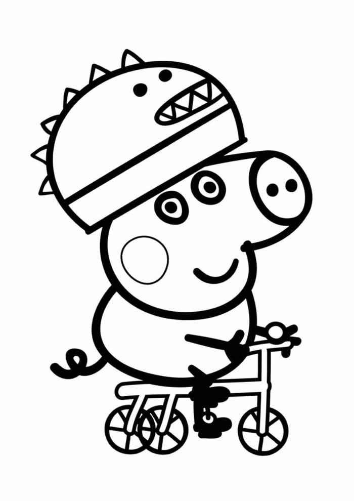 peppa pig coloring page bicycle