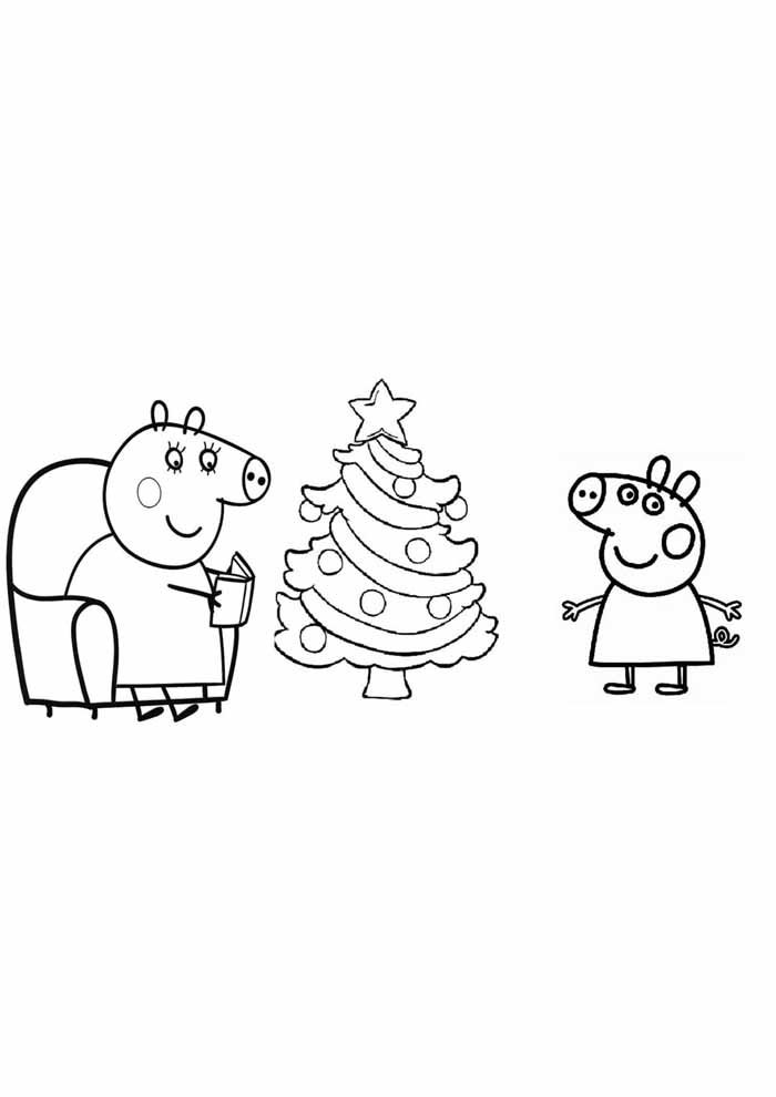 peppa pig coloring page christmas