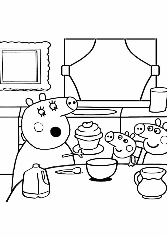 peppa pig coloring page dinner