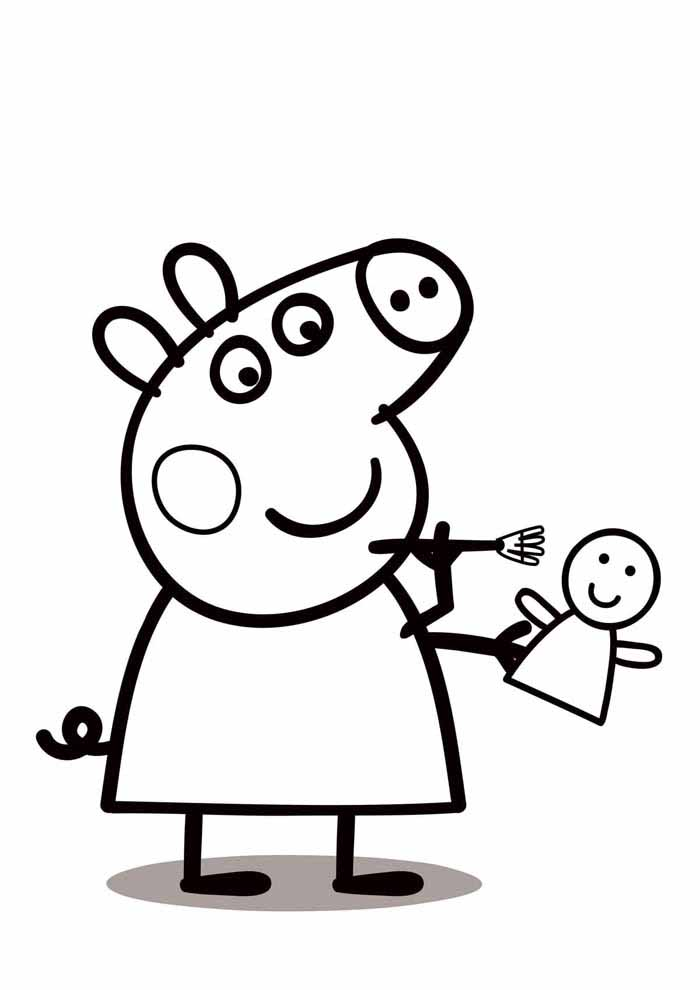 peppa pig coloring page doll