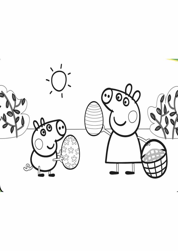 peppa pig coloring page easter
