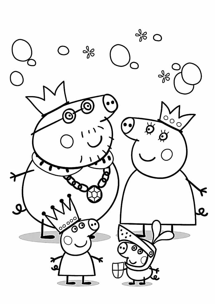 peppa pig coloring page family party