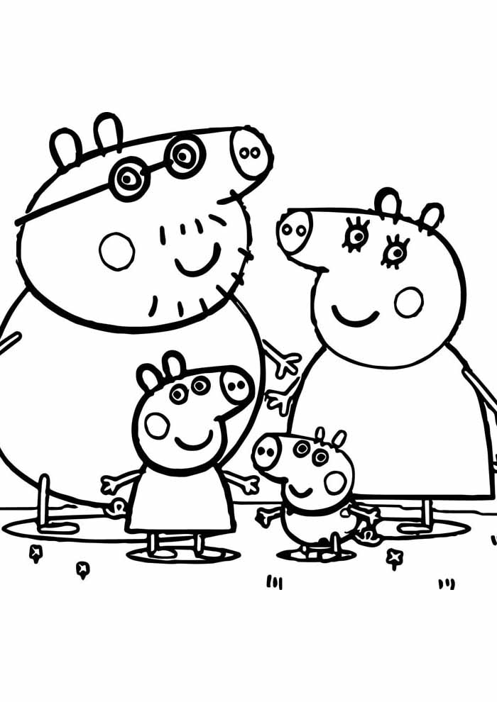 peppa pig coloring page family