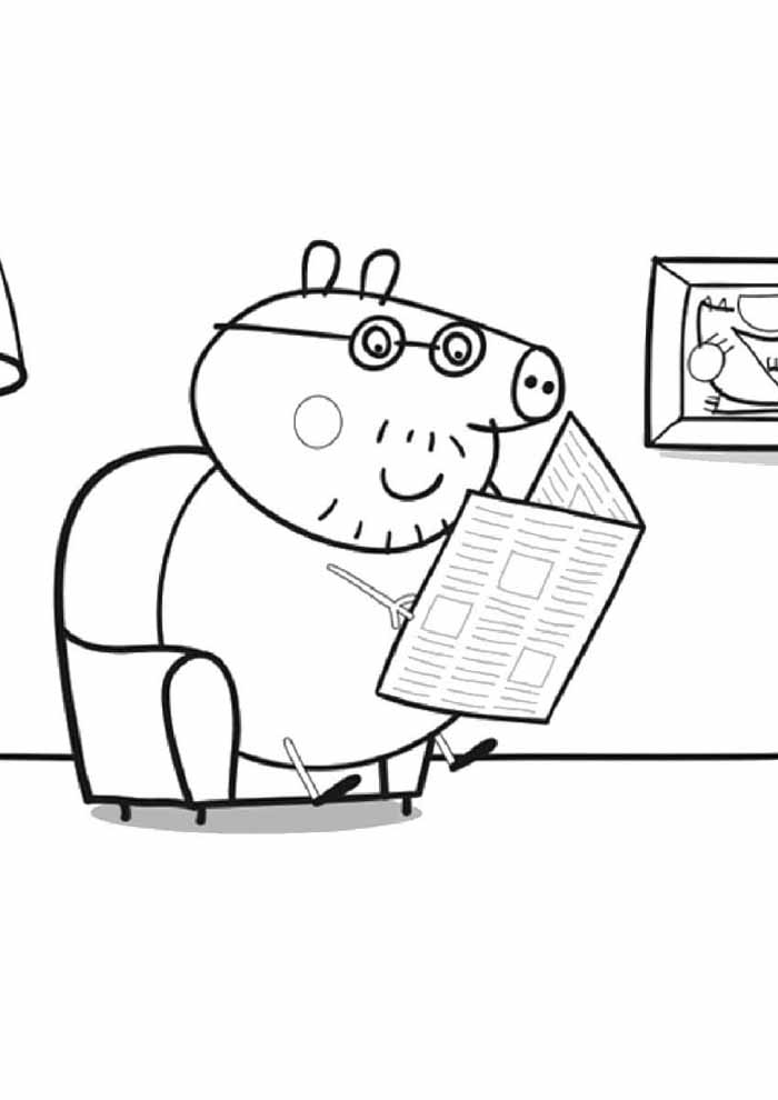 peppa pig coloring page george reading