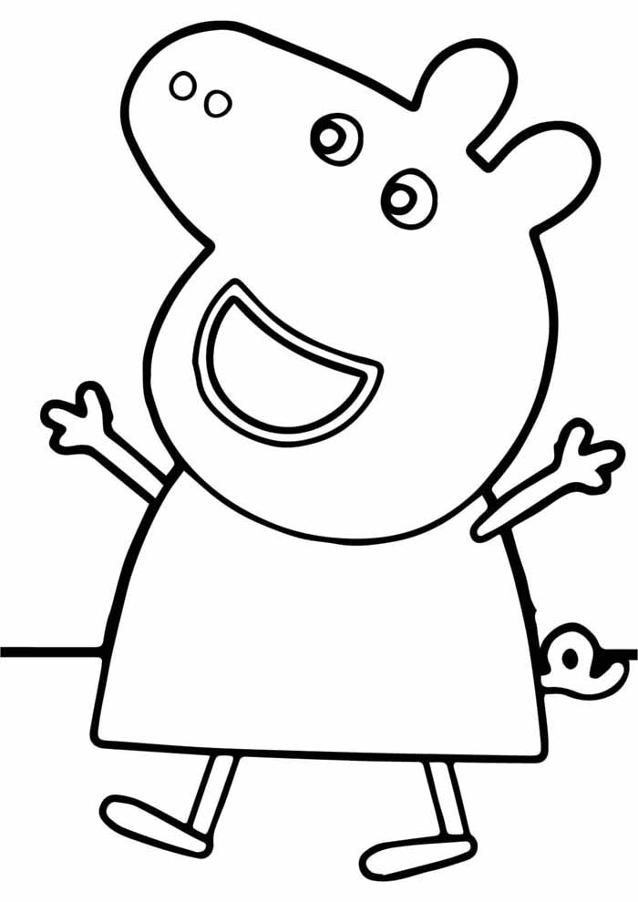 peppa pig coloring page happy