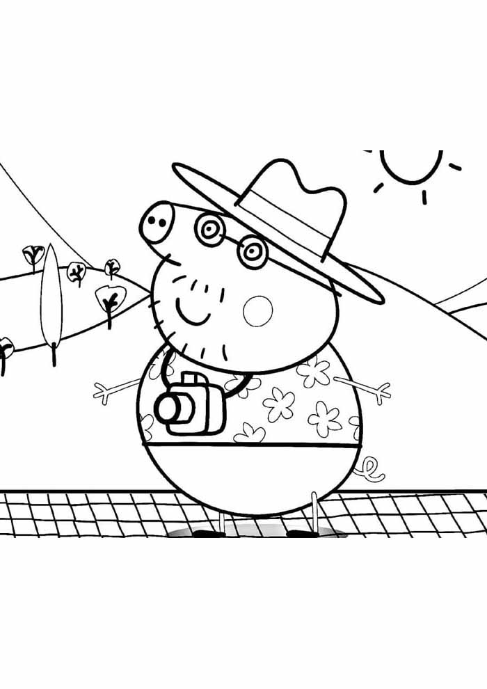 peppa pig coloring page holiday