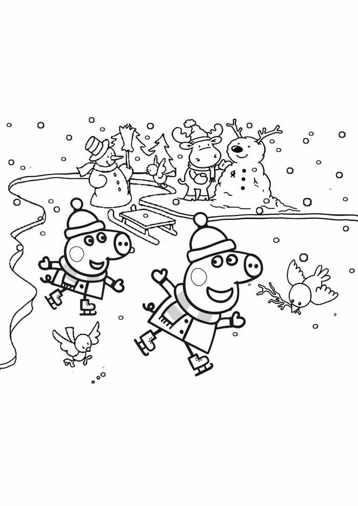 peppa pig coloring page ice skating