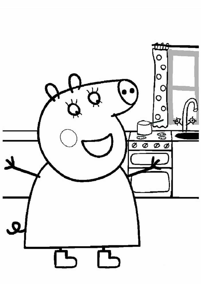 peppa pig coloring page in the kitchen