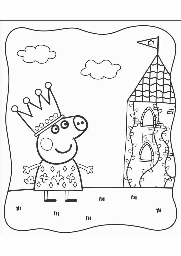 peppa pig coloring page queen