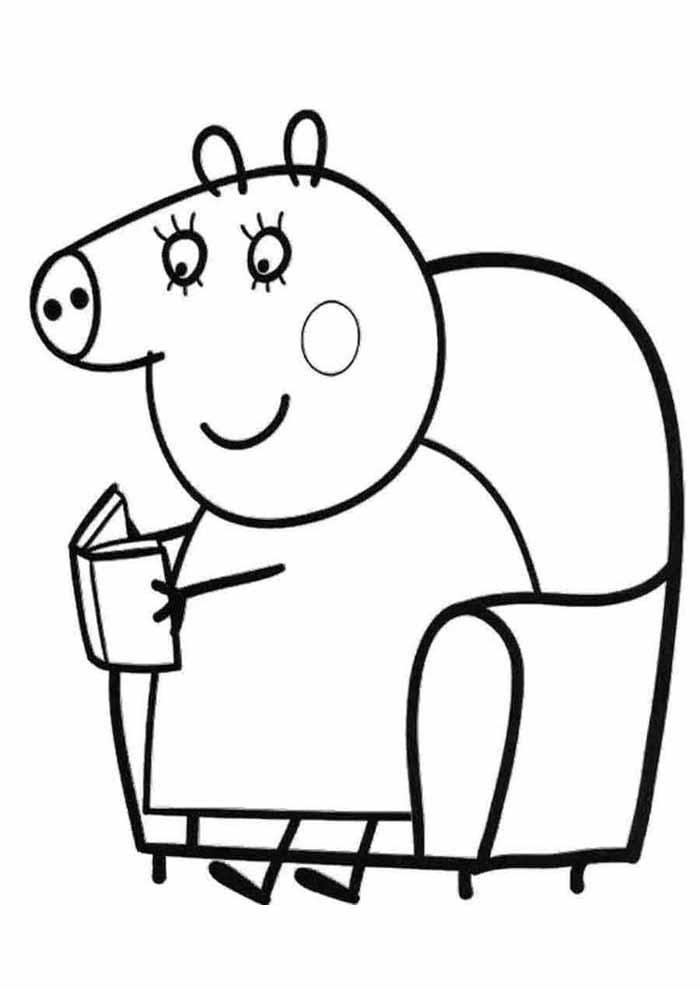 peppa pig coloring page reading