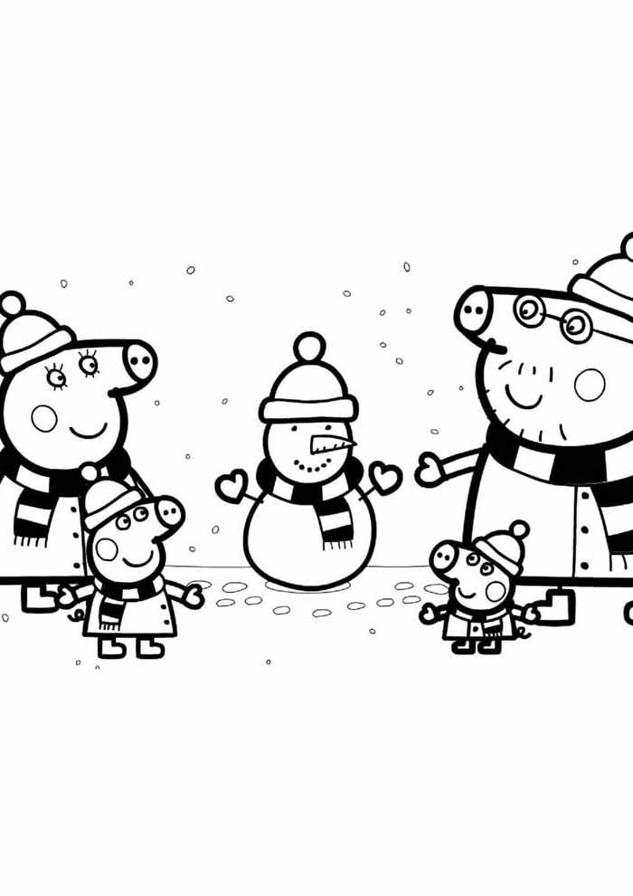 peppa pig coloring page snow season