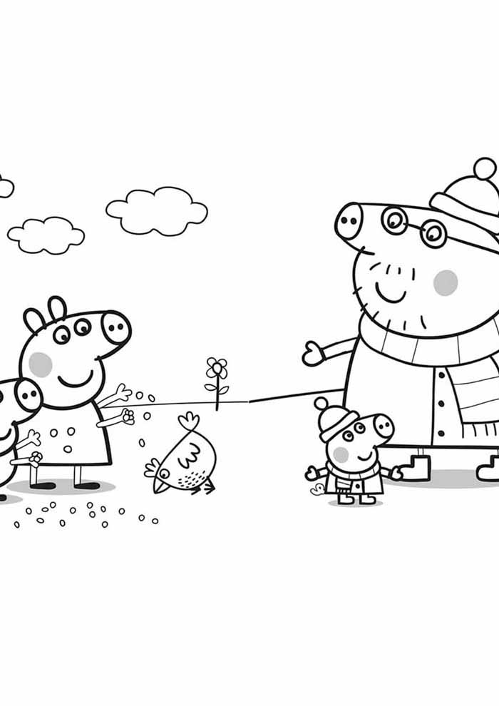peppa pig coloring page snow