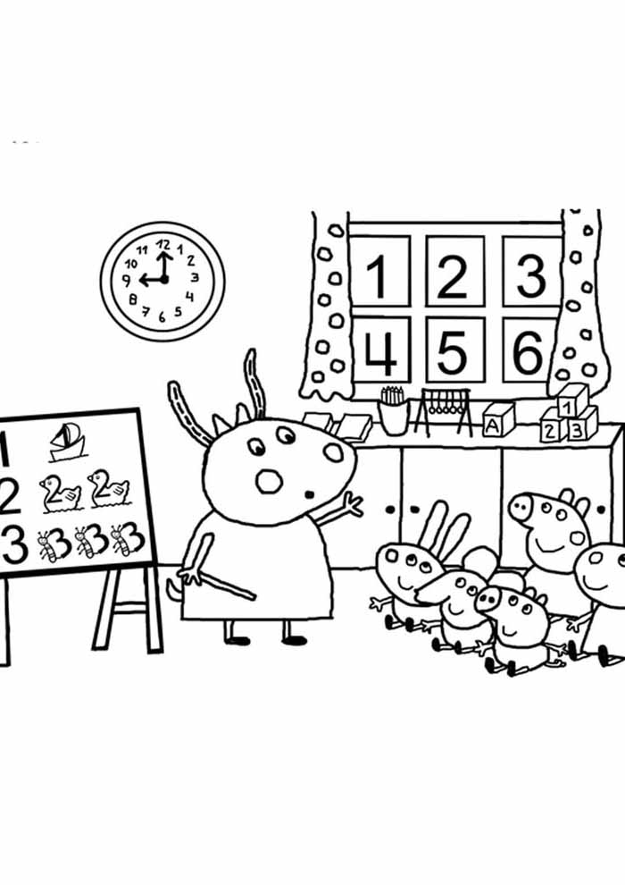 peppa pig coloring page teaching