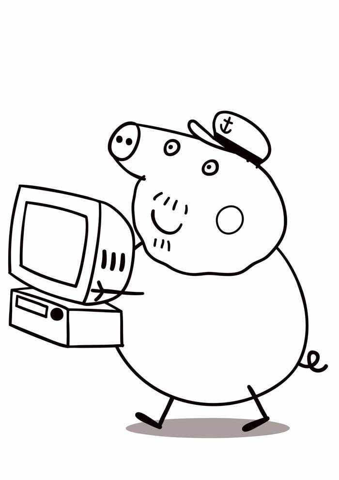 peppa pig coloring page tv
