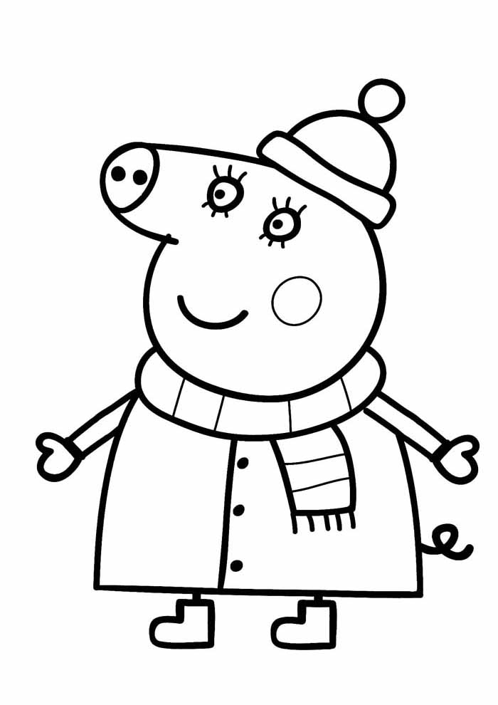 peppa pig coloring page winter clothes