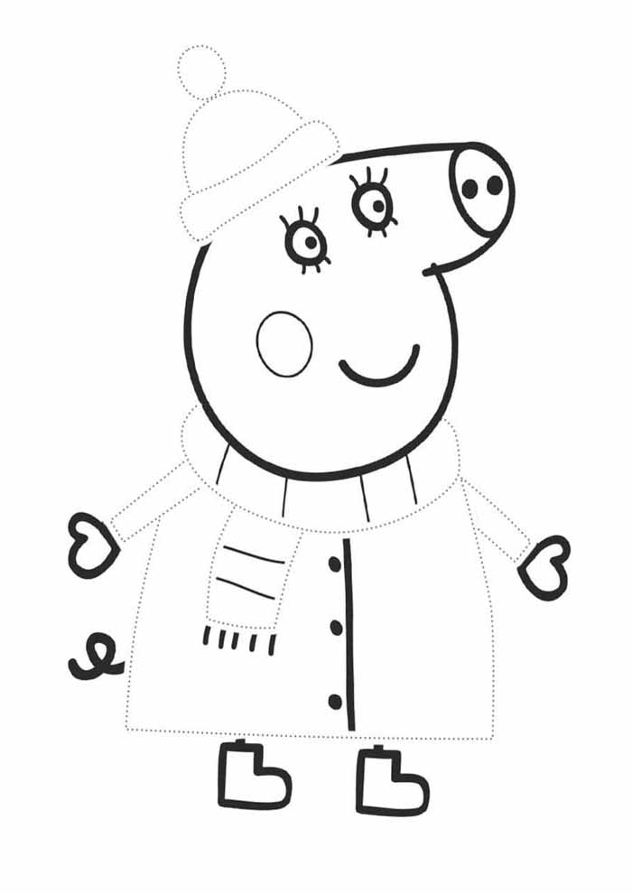 peppa pig coloring page winter