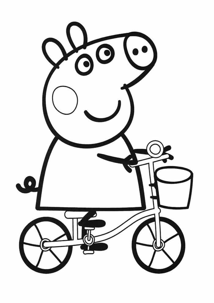 peppa pig cycling coloring page