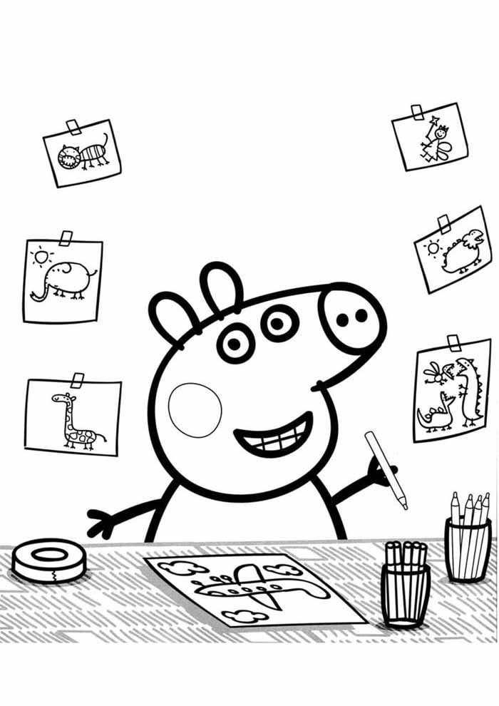 peppa pig drawing coloring page
