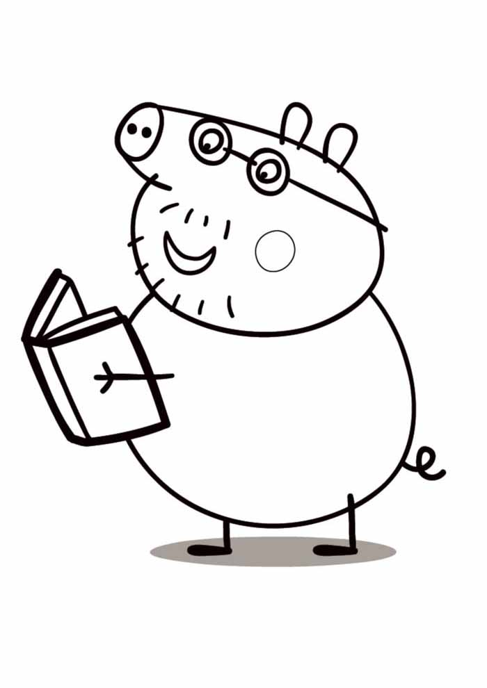 peppa pig reading coloring page