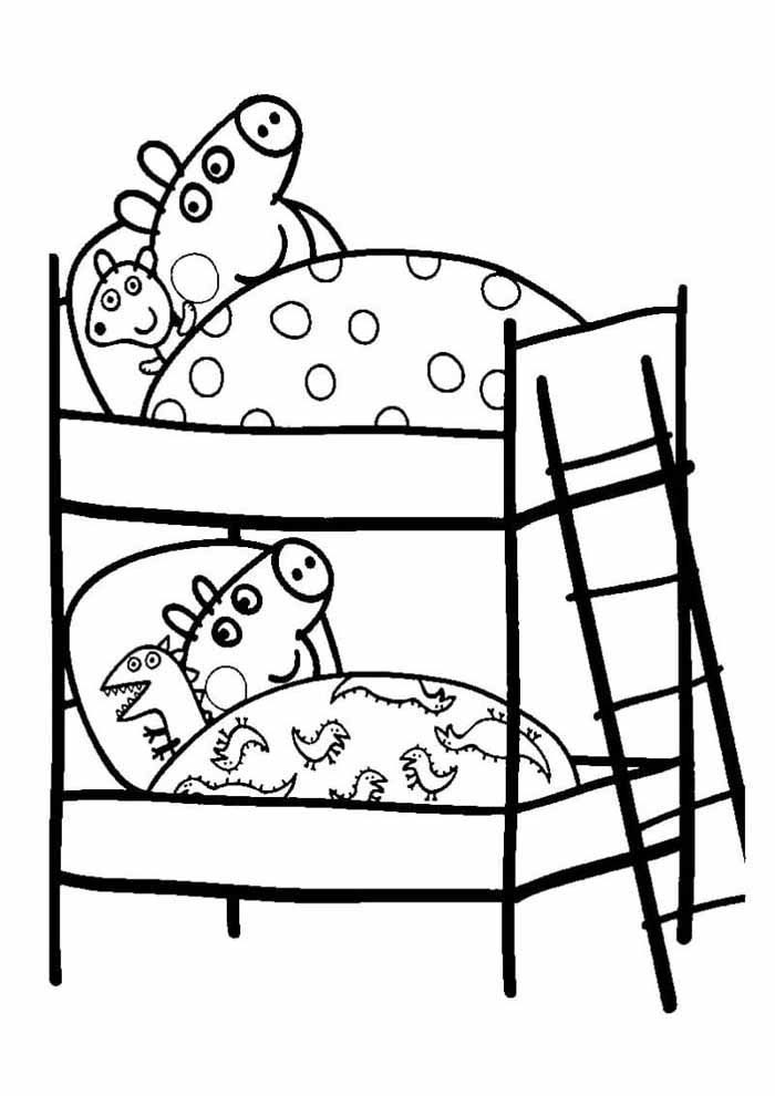 peppa pig sleeping coloring page
