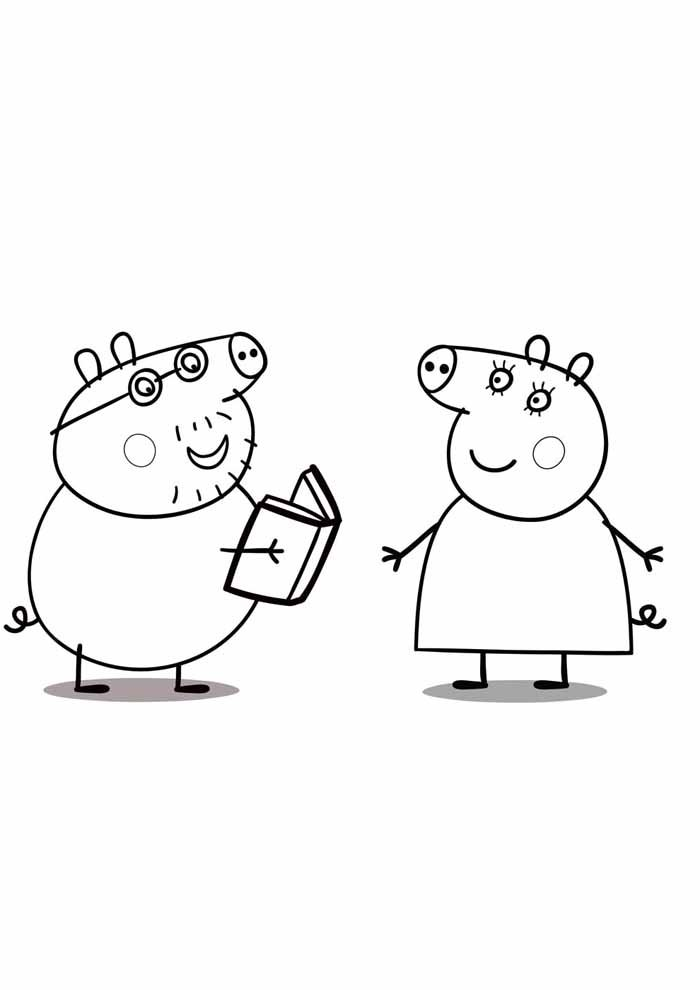 peppa pig studying coloring page
