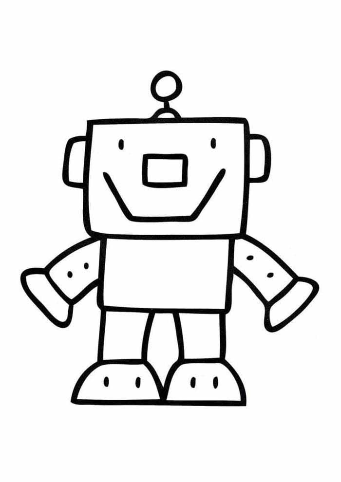 robot coloring page for kids