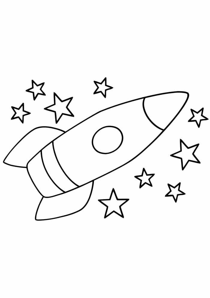 rocket coloring page for kids
